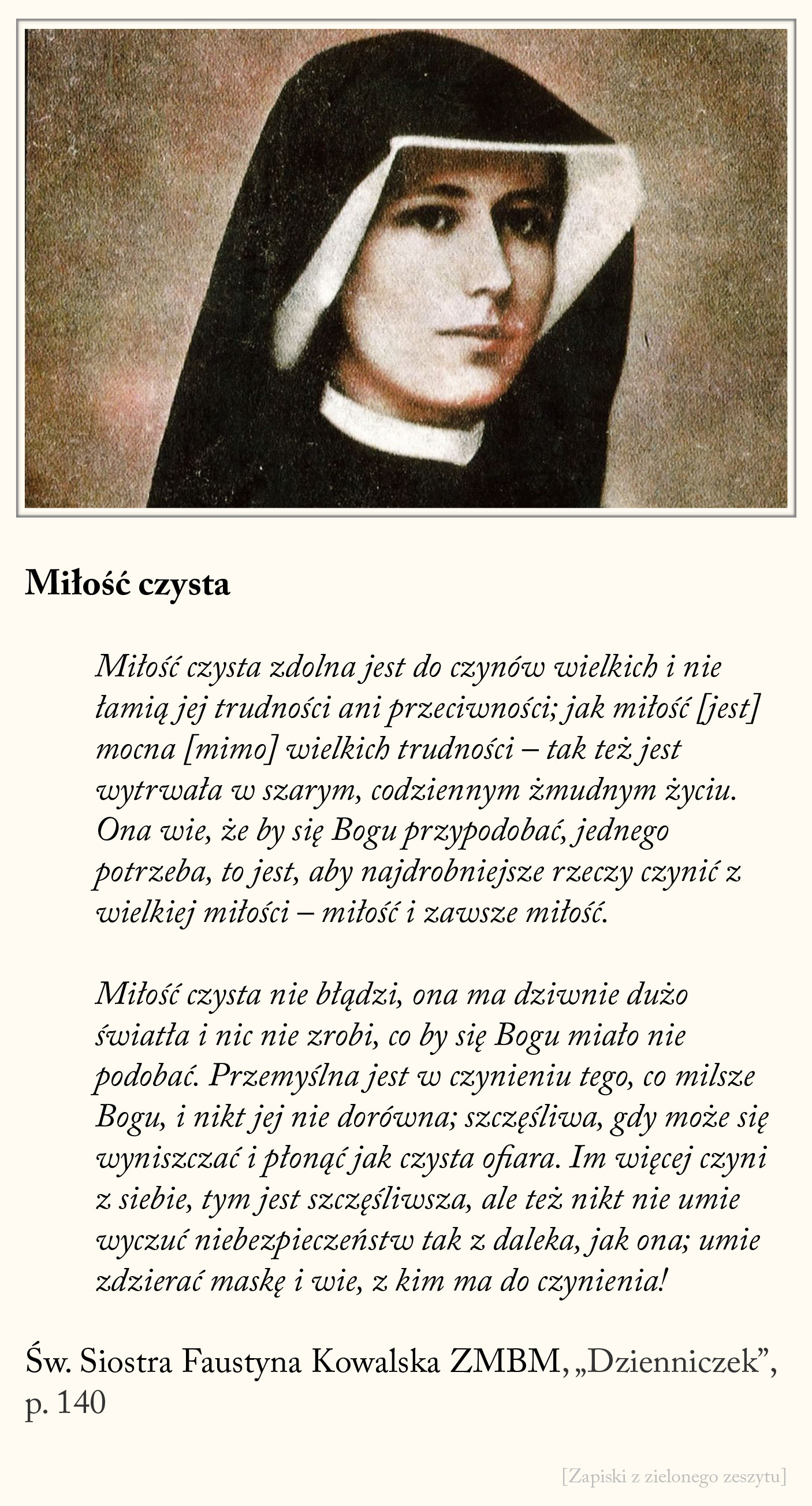 Miłość czysta, św. Faustyna Kowalska