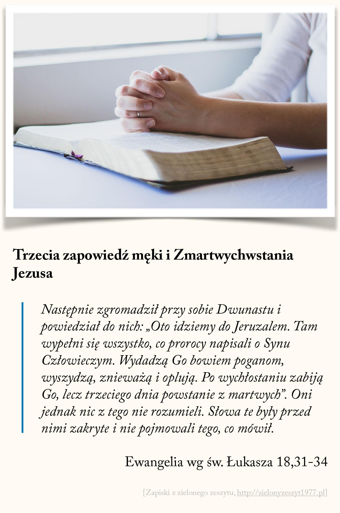 Trzecia zapowiedź męki i Zmartwychwstania Jezusa, Ewangelia wg św. Łukasza