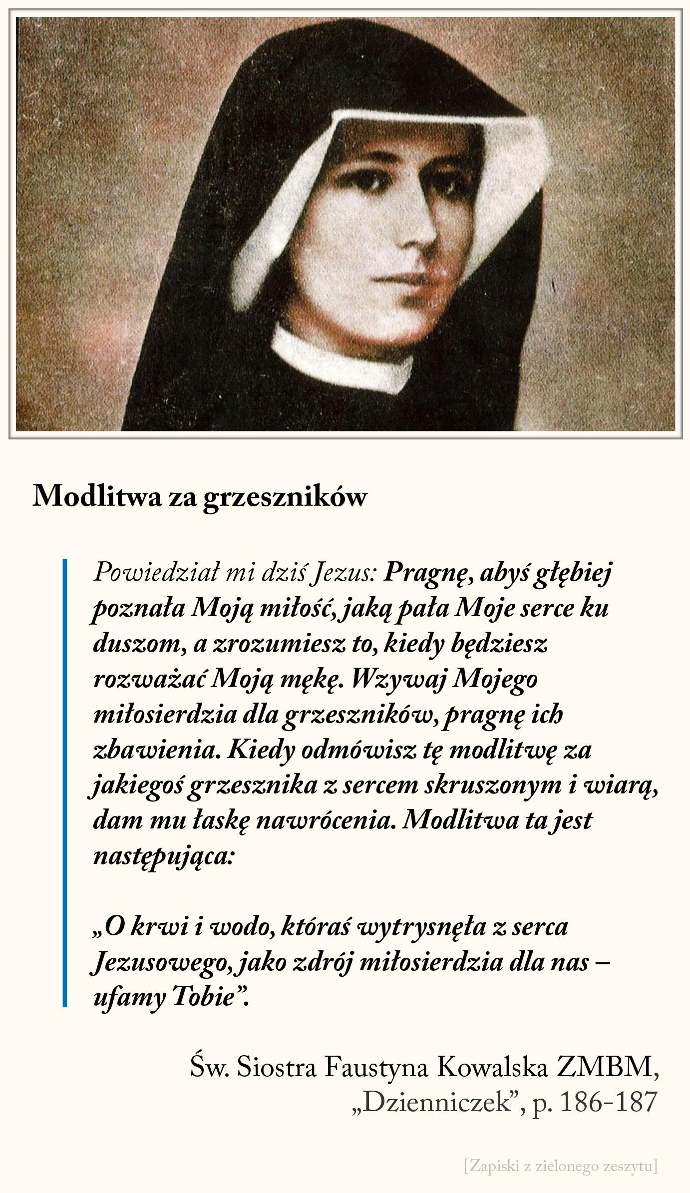 Modlitwa za grzeszników, św. Faustyna Kowalska