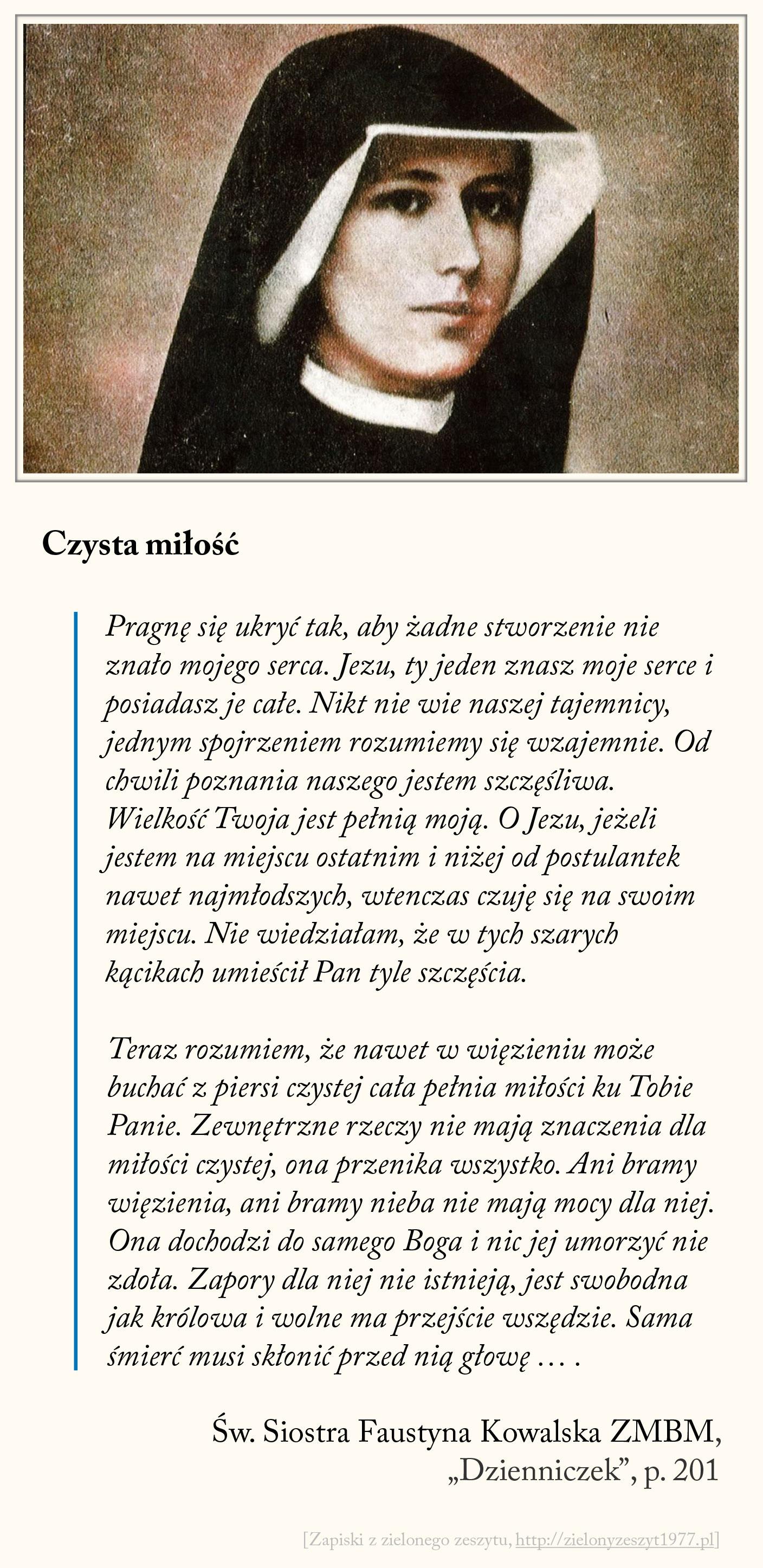 Czysta miłość, św. Faustyna Kowalska