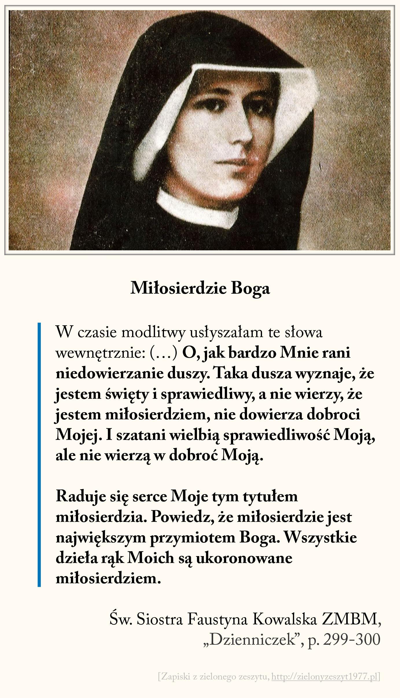 Miłosierdzie Boga, św. Faustyna Kowalska