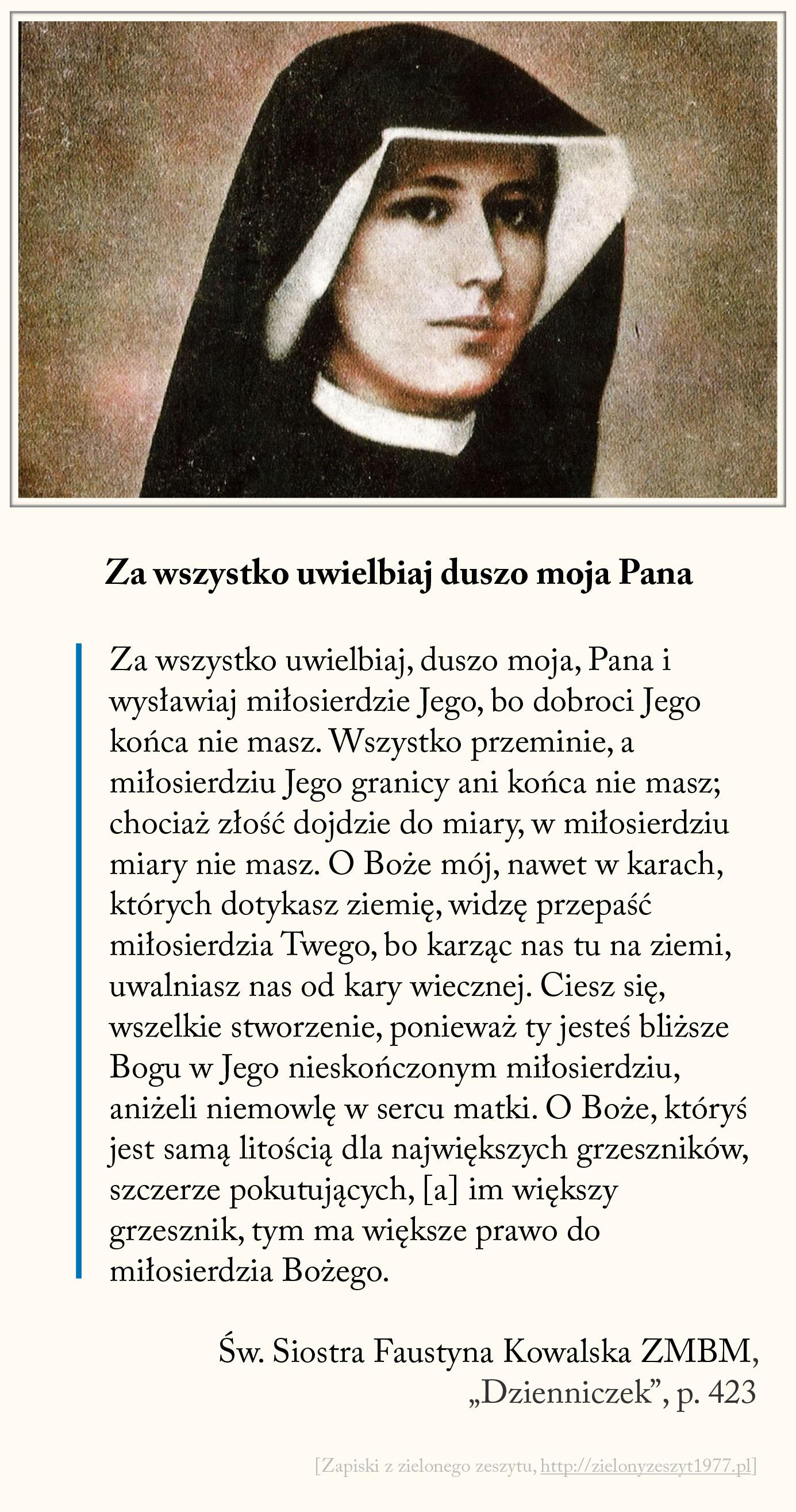 Za wszystko uwielbiaj duszo moja Pana, św. Faustyna Kowalska