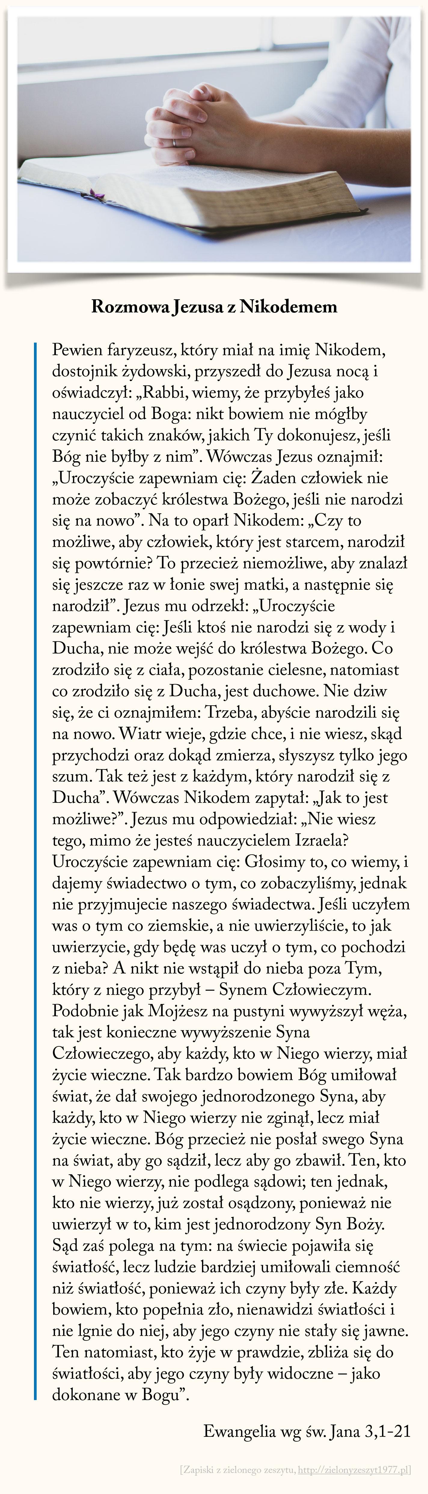 Rozmowa Jezusa z Nikodemem, Ewangelia wg św. Jana