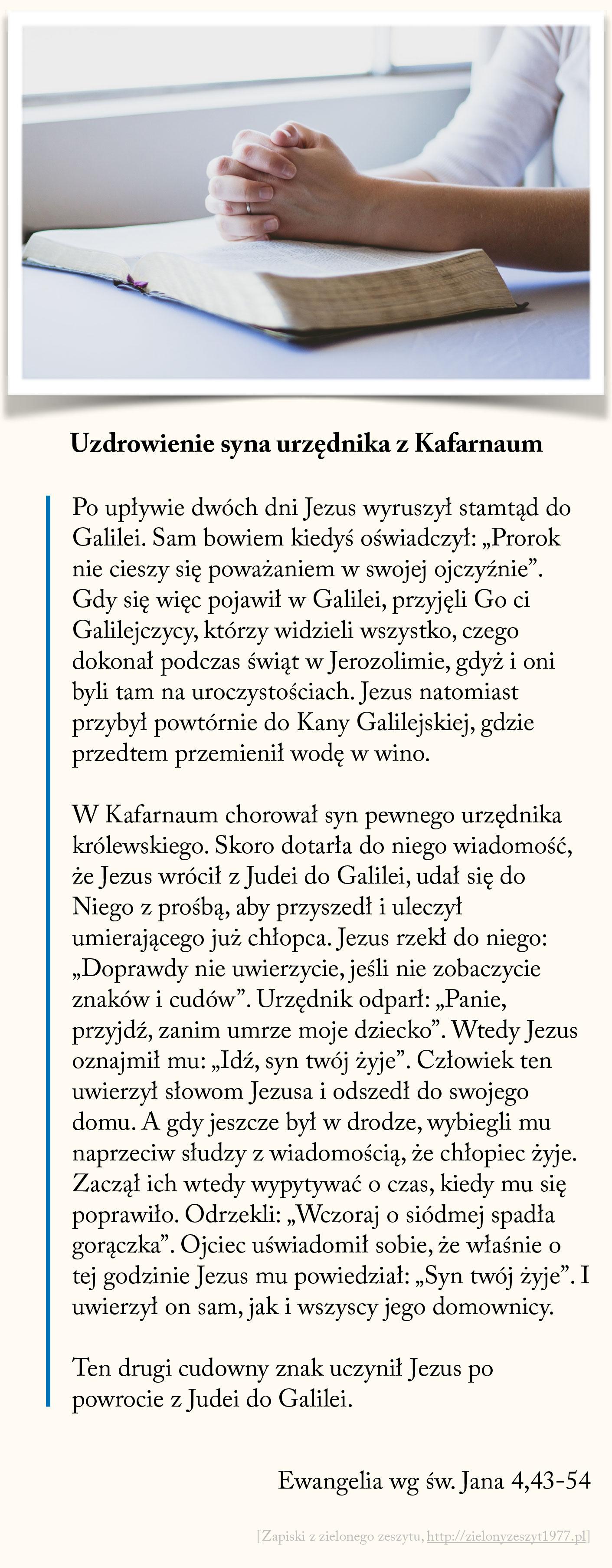Uzdrowienie syna urzędnika z Kafarnaum, Ewangelia wg św. Jana