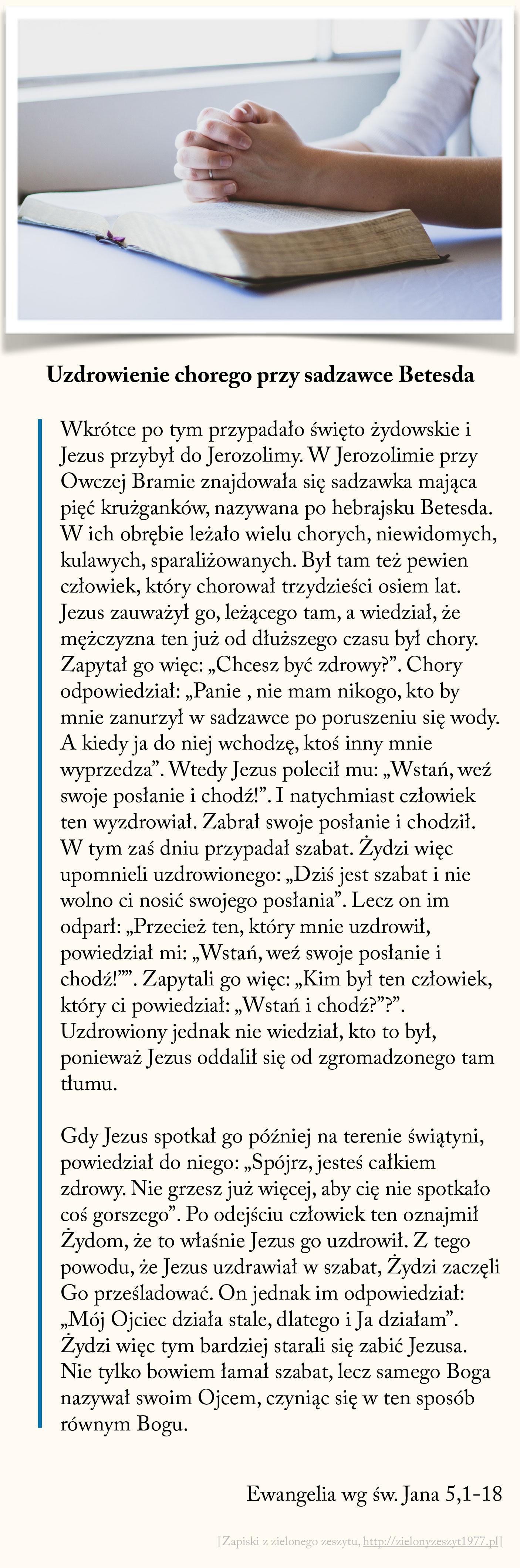 Uzdrowienie chorego przy sadzawce Betesda, Ewangelia wg św. Jana