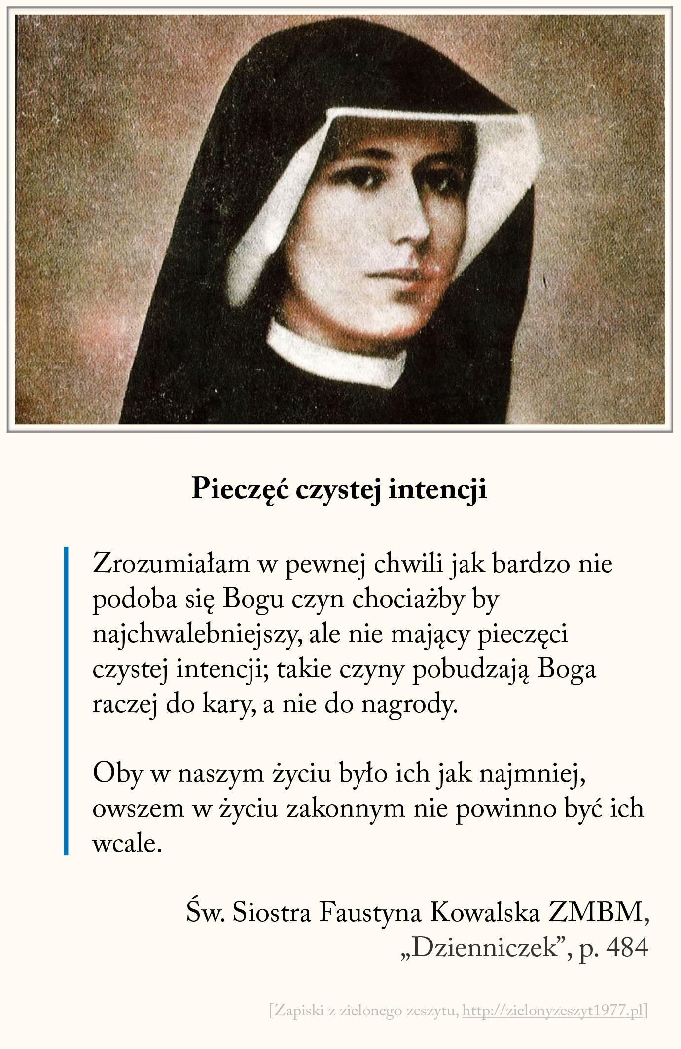Pieczęć czystej intencji, św. Faustyna Kowalska
