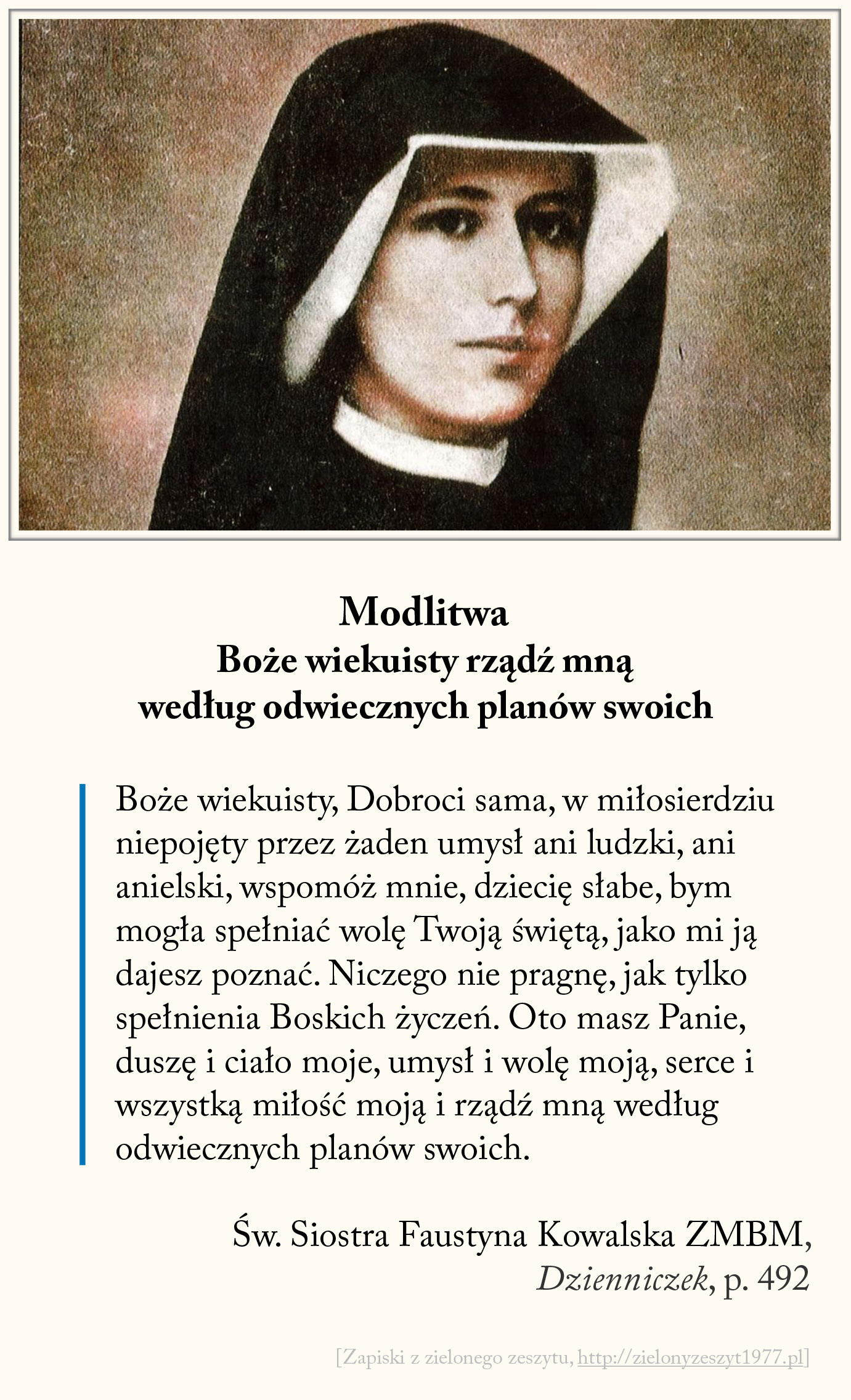 Modlitwa - Boże wiekuisty rządź mną według odwiecznych planów swoich, św. Faustyna Kowalska