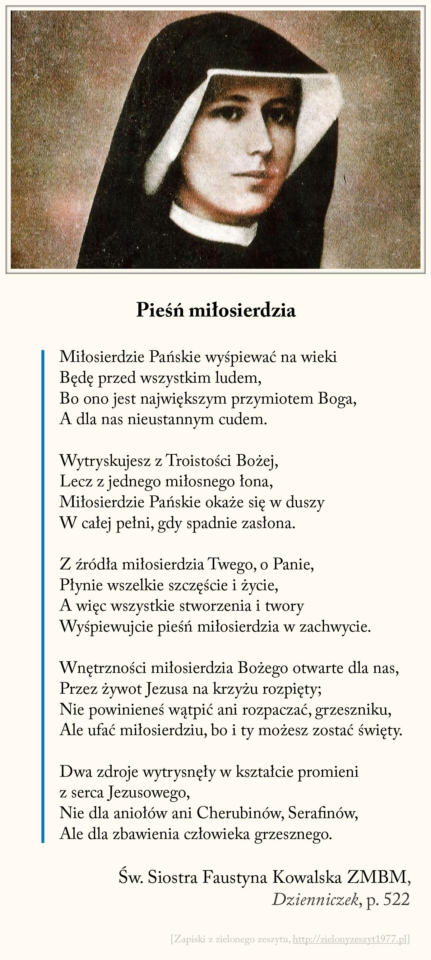 Pieśń miłosierdzia, św. Faustyna Kowalska