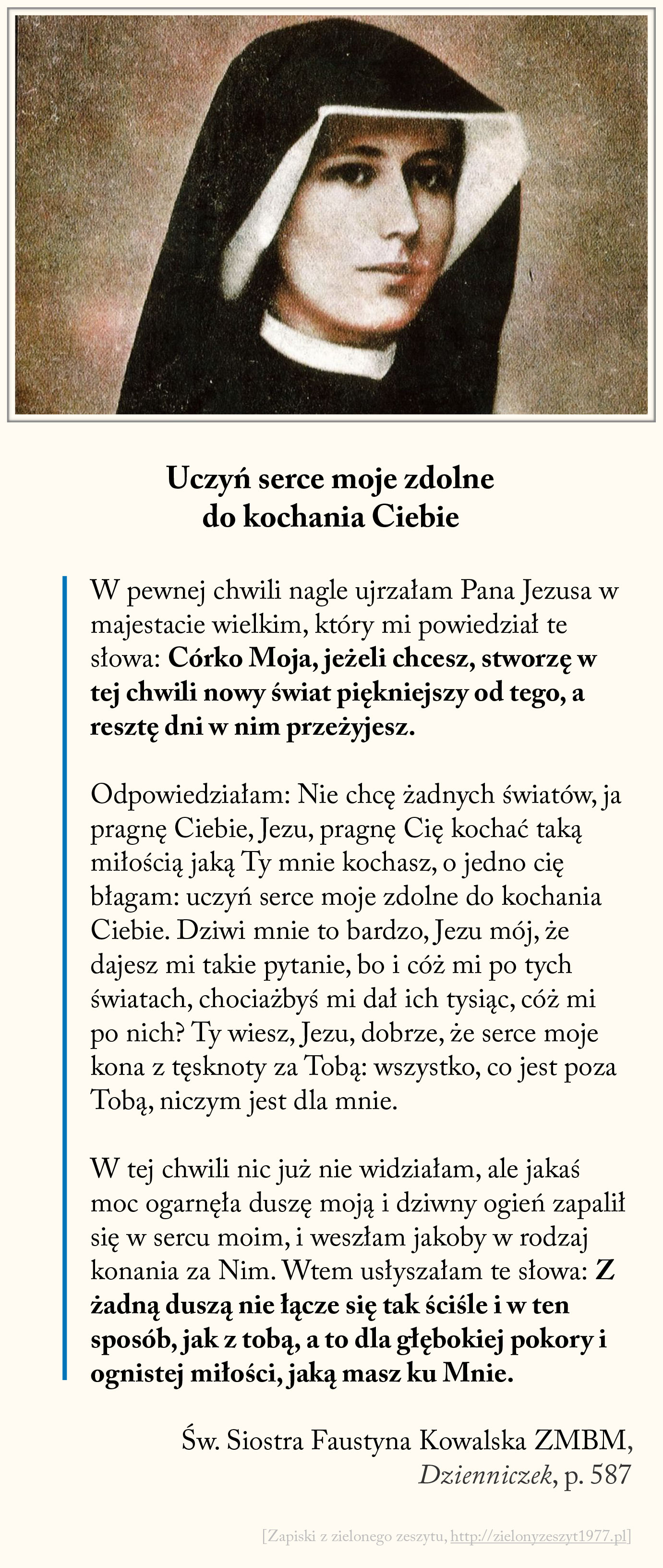 Uczyń serce moje zdolne do kochania Ciebie, św. Faustyna Kowalska