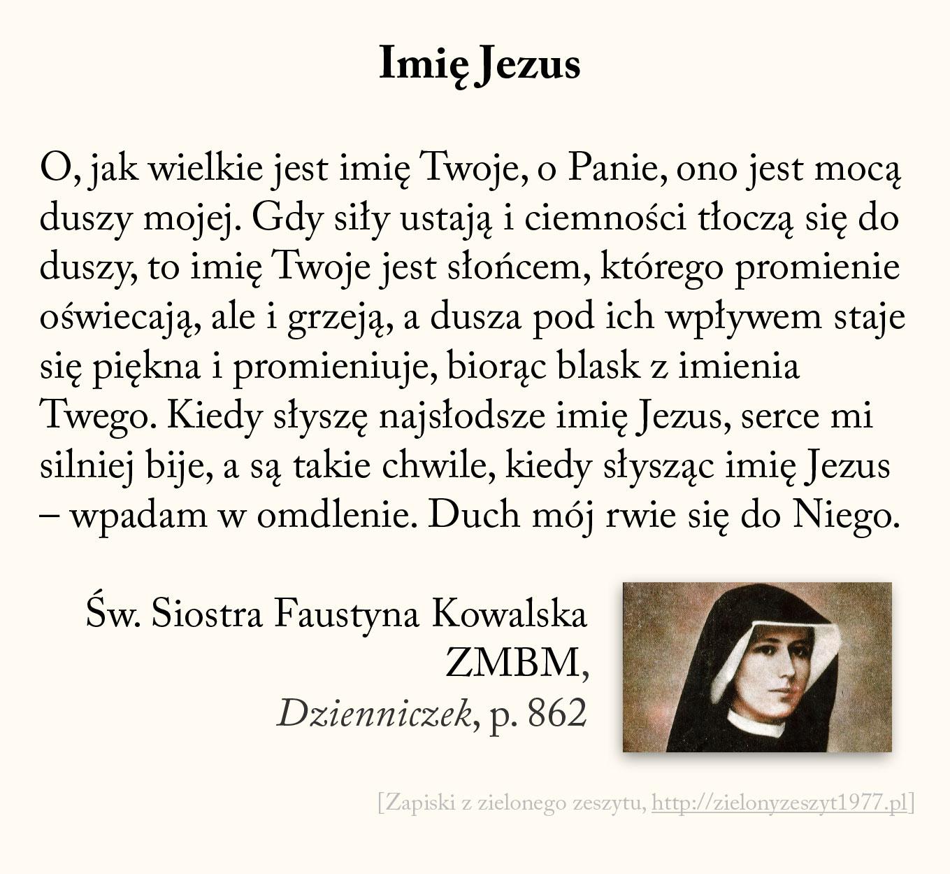 Imię Jezus, św. Faustyna Kowalska
