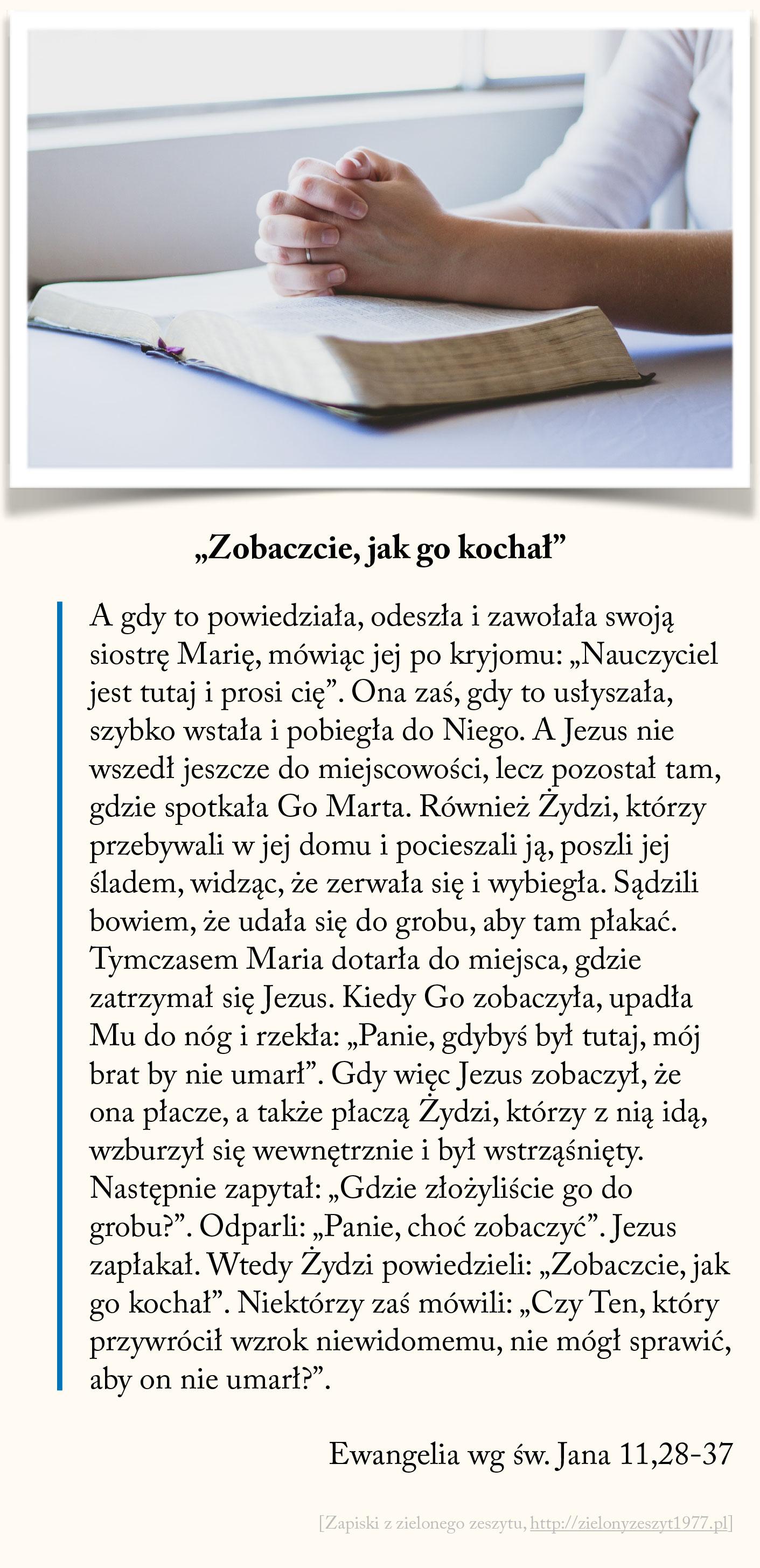 """""""Zobaczcie, jak go kochał"""", Ewangelia wg św. Jana"""