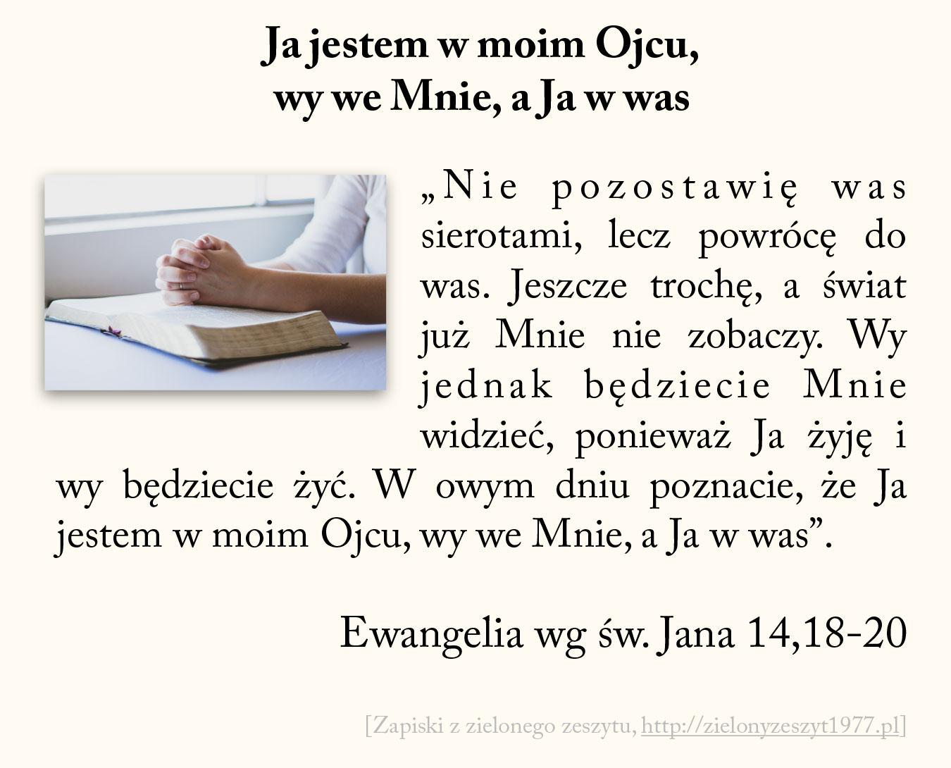 Ja jestem w moim Ojcu, wy we Mnie, a Ja w was; Ewangelia wg św. Jana