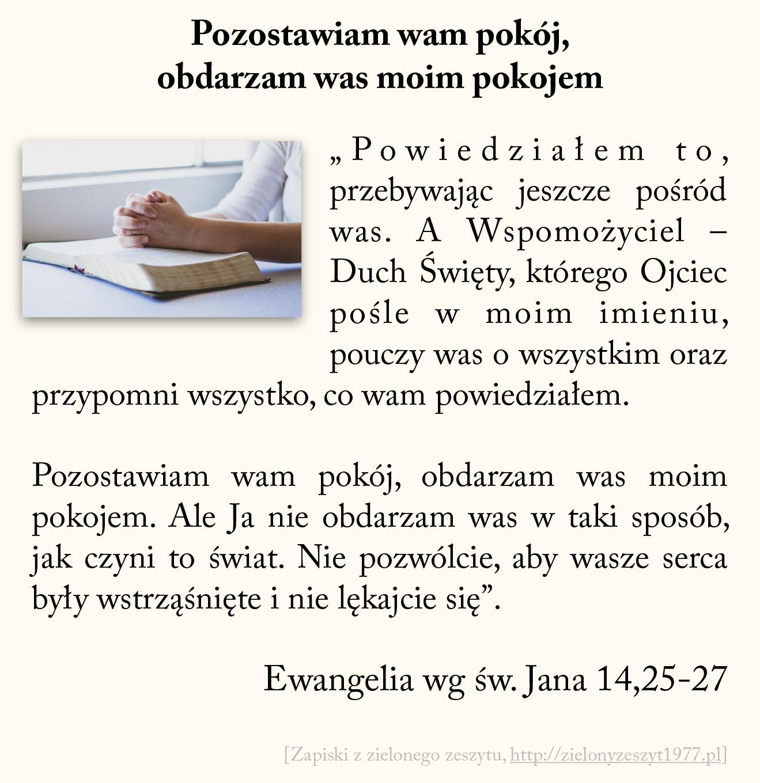 Pozostawiam wam pokój, obdarzam was moim pokojem; Ewangelia wg św. Jana