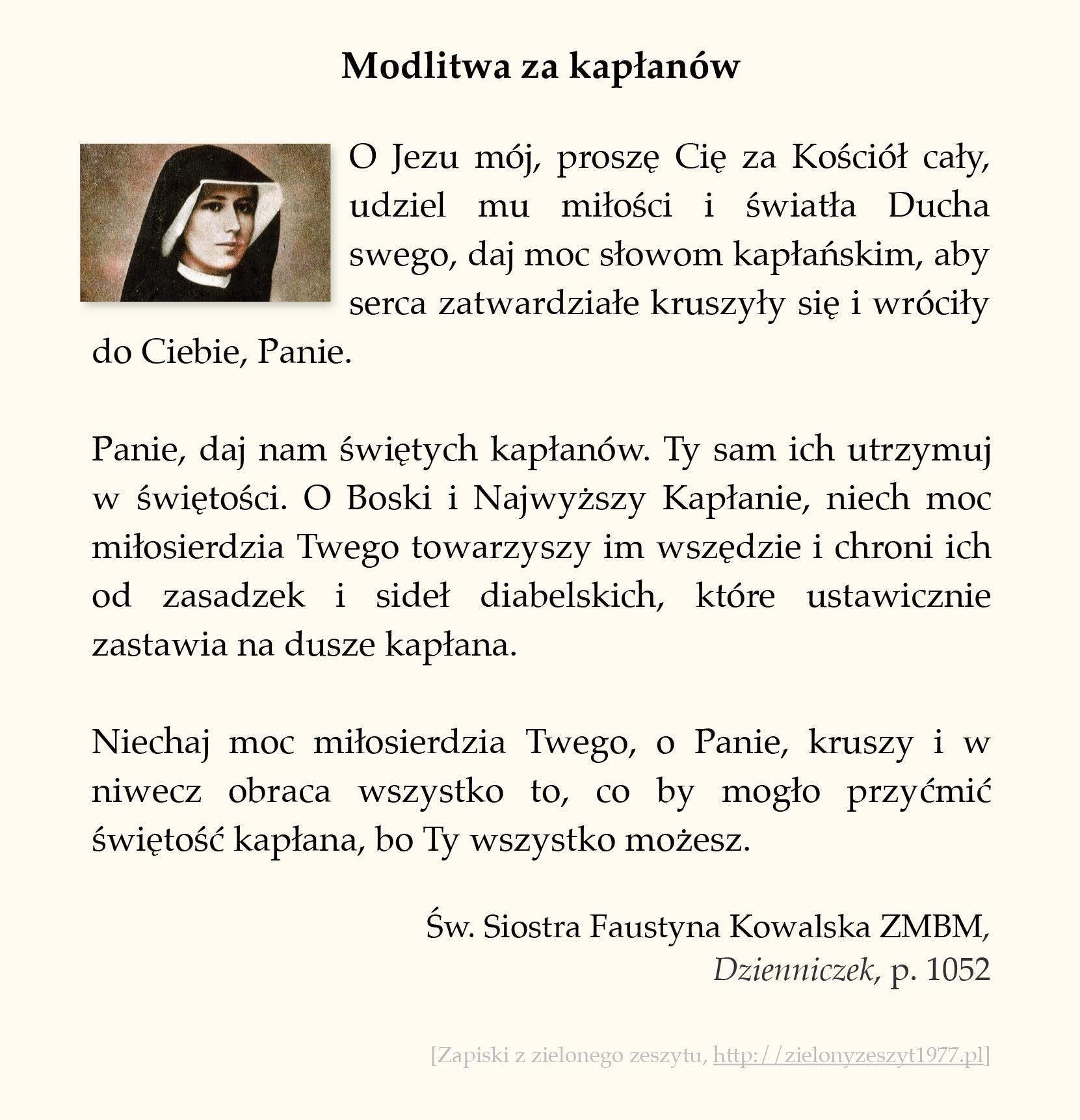 Modlitwa za kapłanów, św. Faustyna Kowalska