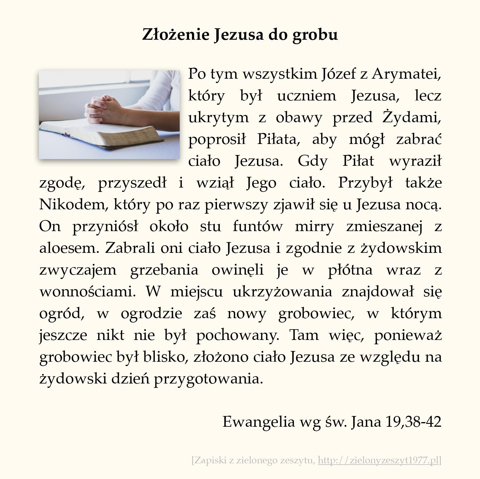 Złożenie Jezusa do grobu, Ewangelia wg św. Jana (#97)