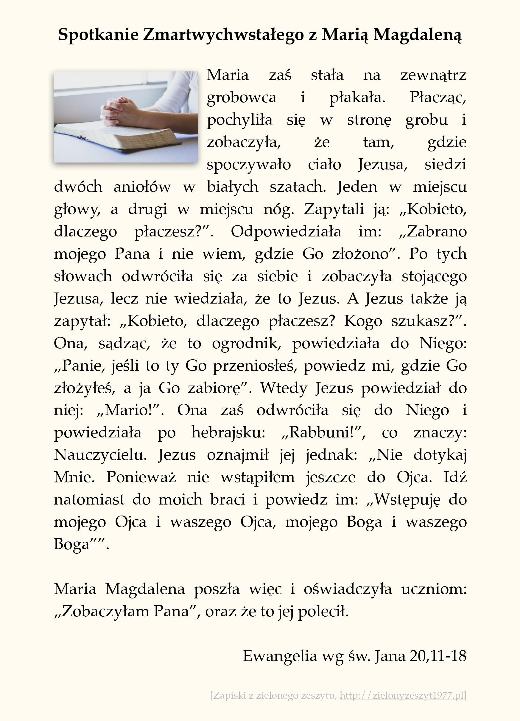 Spotkanie Zmartwychwstałego z Marią Magdaleną; Ewangelia wg św. Jana (#99)
