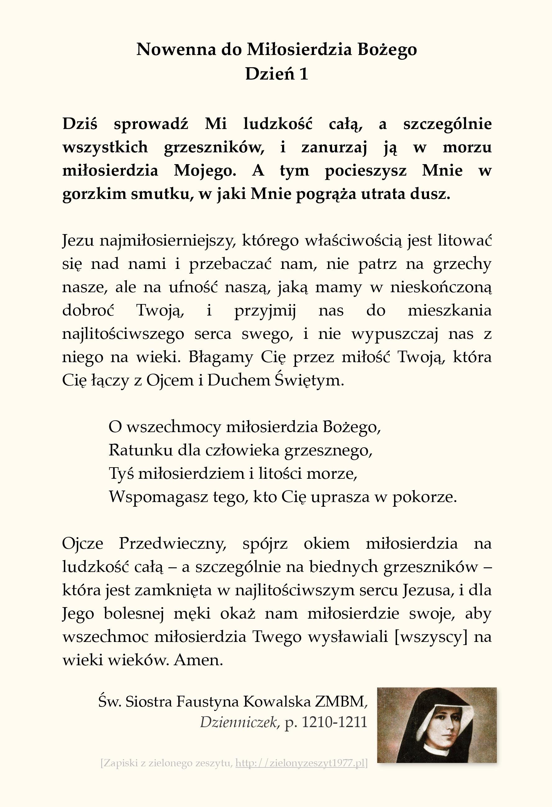 Nowenna do Miłosierdzia Bożego - Dzień 1; św. Faustyna Kowalska