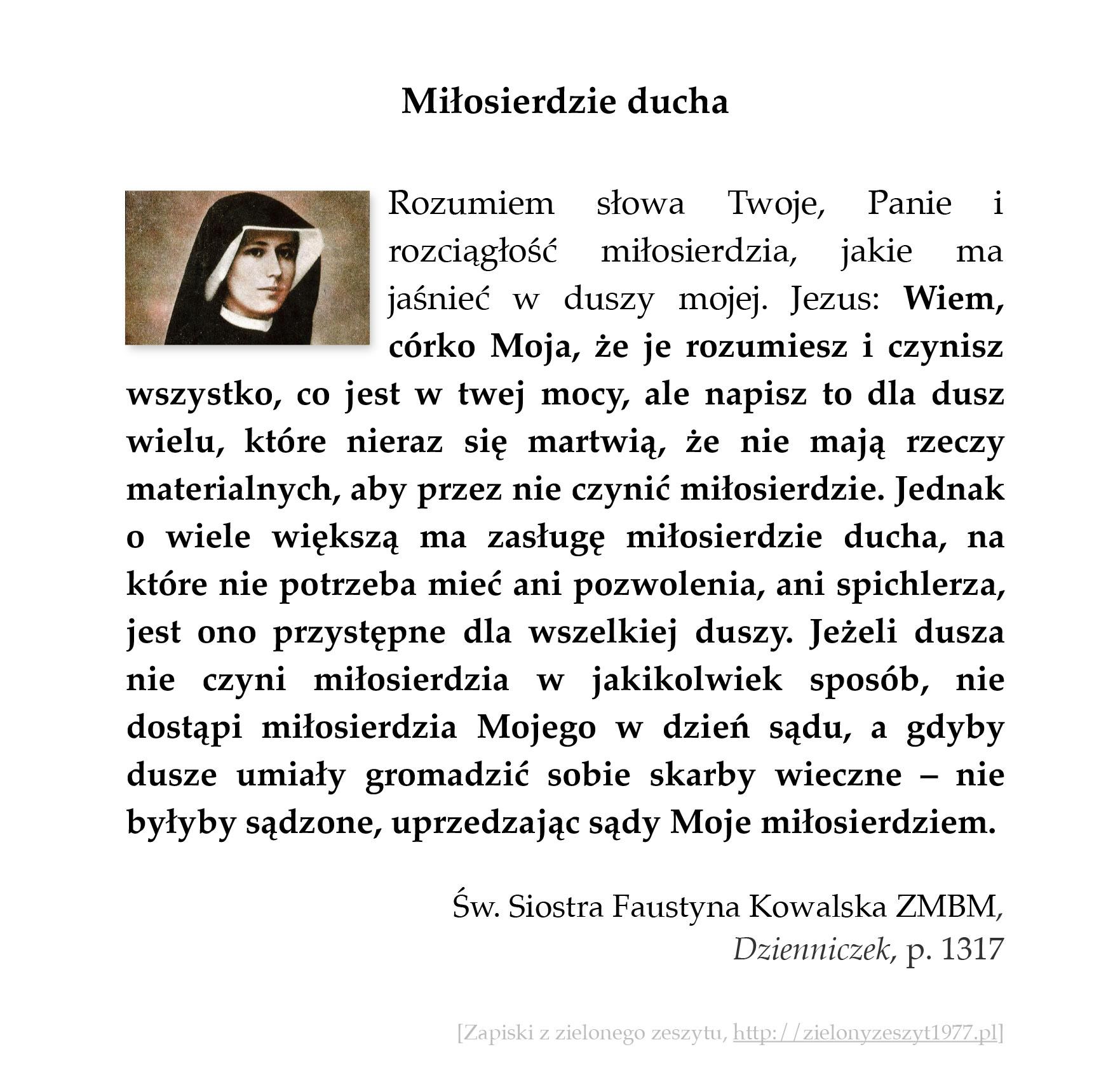 Miłosierdzie ducha, św. Faustyna Kowalska