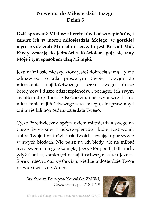 Nowenna do Miłosierdzia Bożego – Dzień 5; św. Faustyna Kowalska