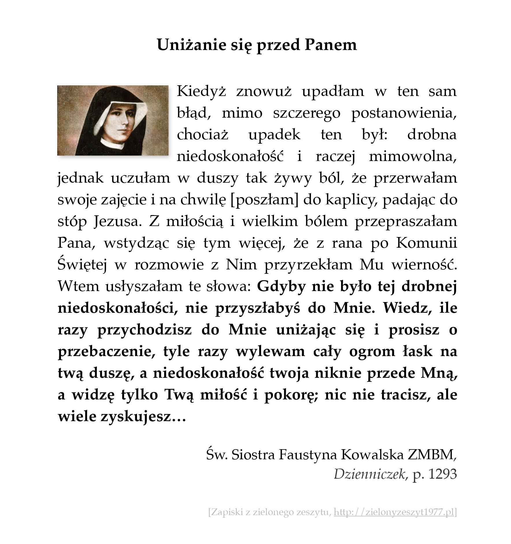 Uniżanie się przed Panem, św. Faustyna Kowalska