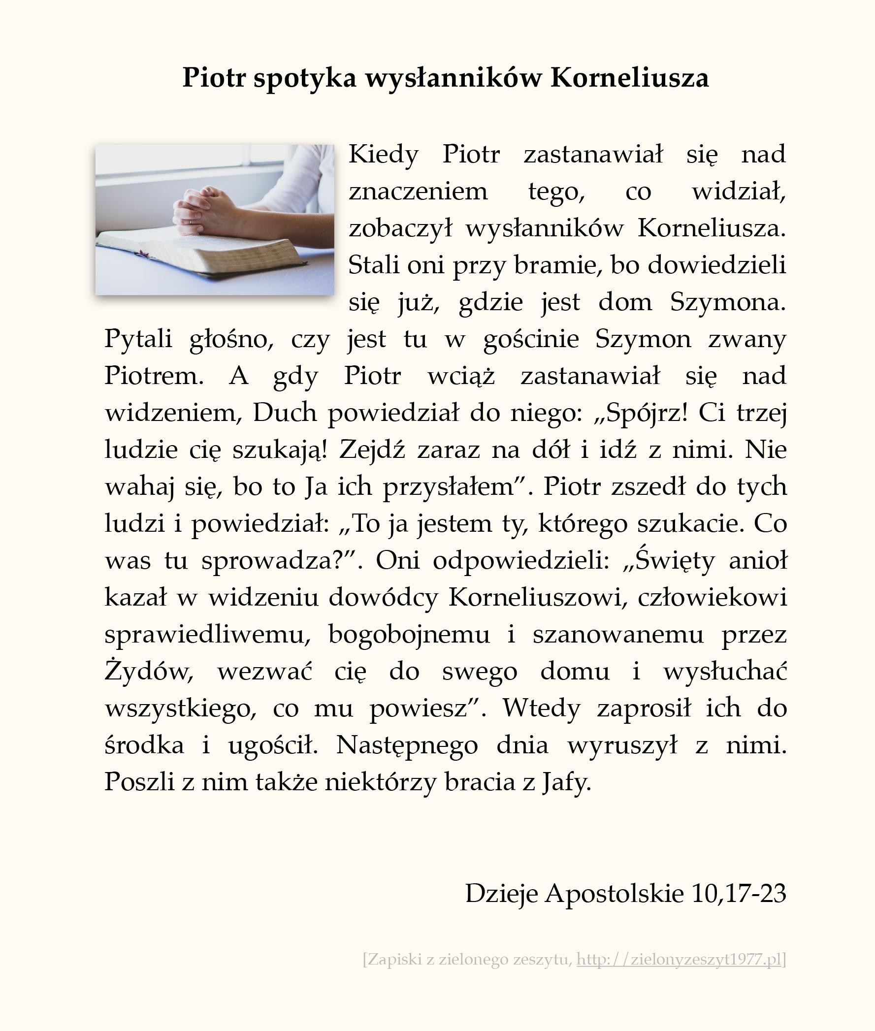 Piotr spotyka wysłanników Korneliusza; Dzieje Apostolskie (#47)
