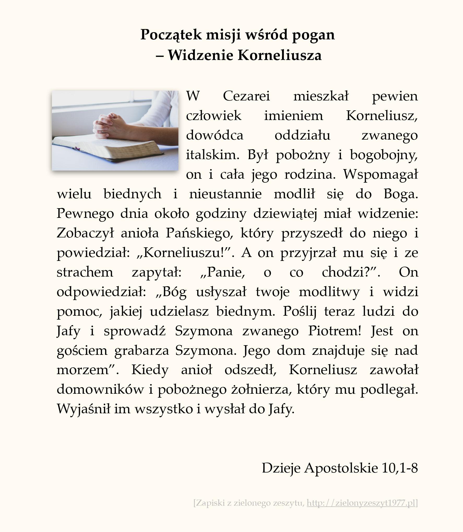 Początek misji wśród pogan - Widzenie Korneliusza; Dzieje Apostolskie (#45)