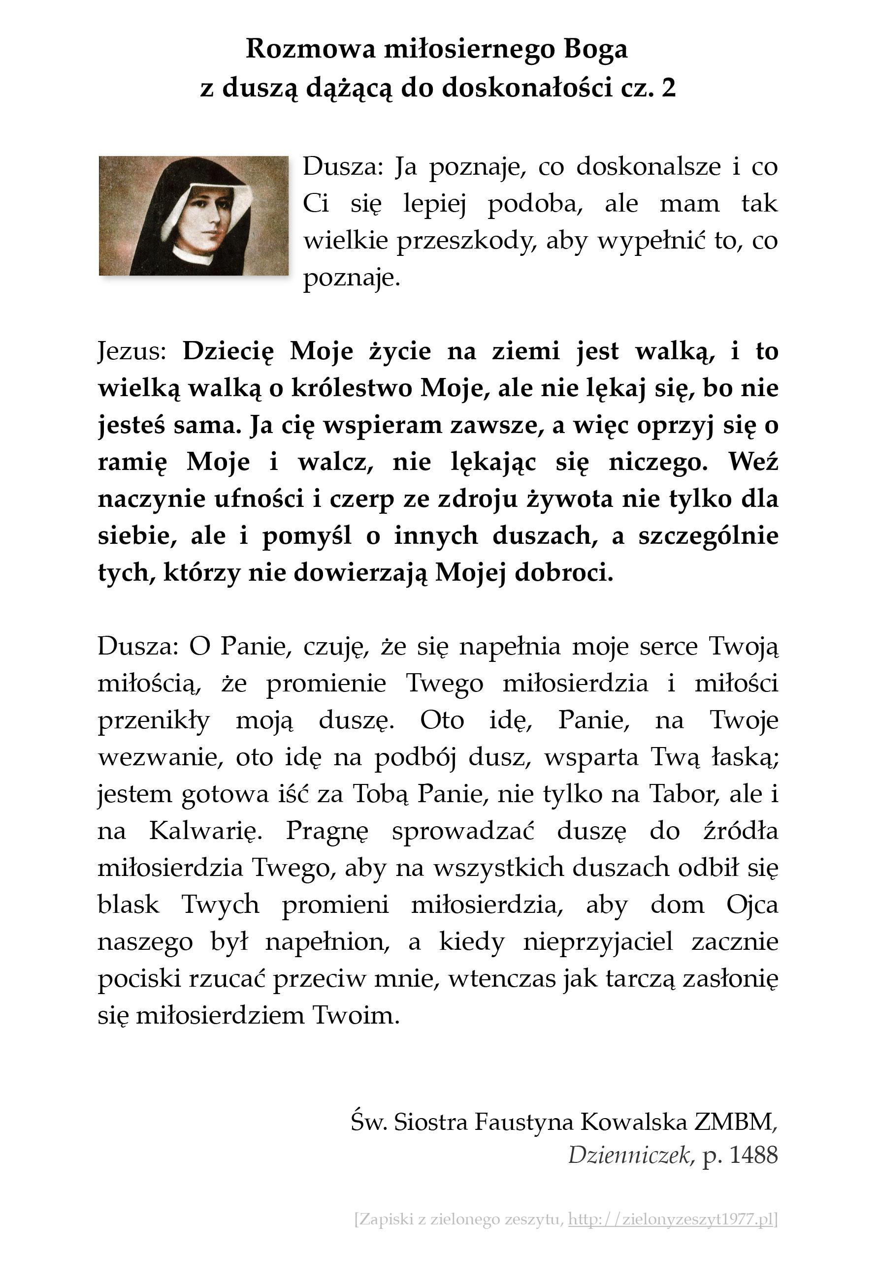 Rozmowa miłosiernego Boga z duszą dążącą do doskonałości - cz. 2; św. Faustyna Kowalska