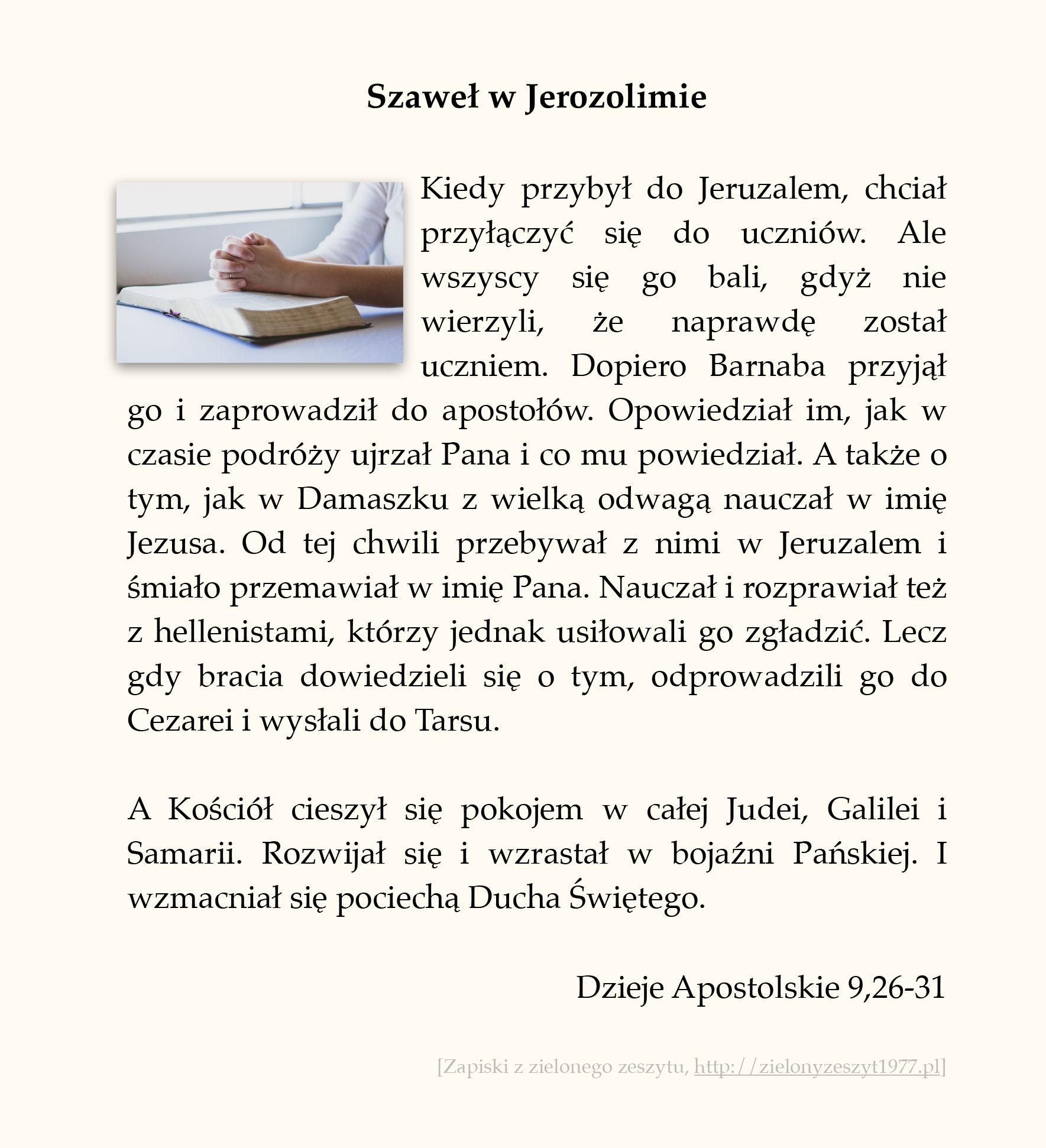 Szaweł w Jerozolimie; Dzieje Apostolskie (#42)
