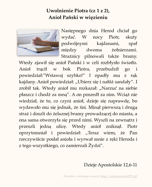 Uwolnienie Piotra (cz 1 z 2), Anioł Pański w więzieniu; Dzieje Apostolskie (#54)