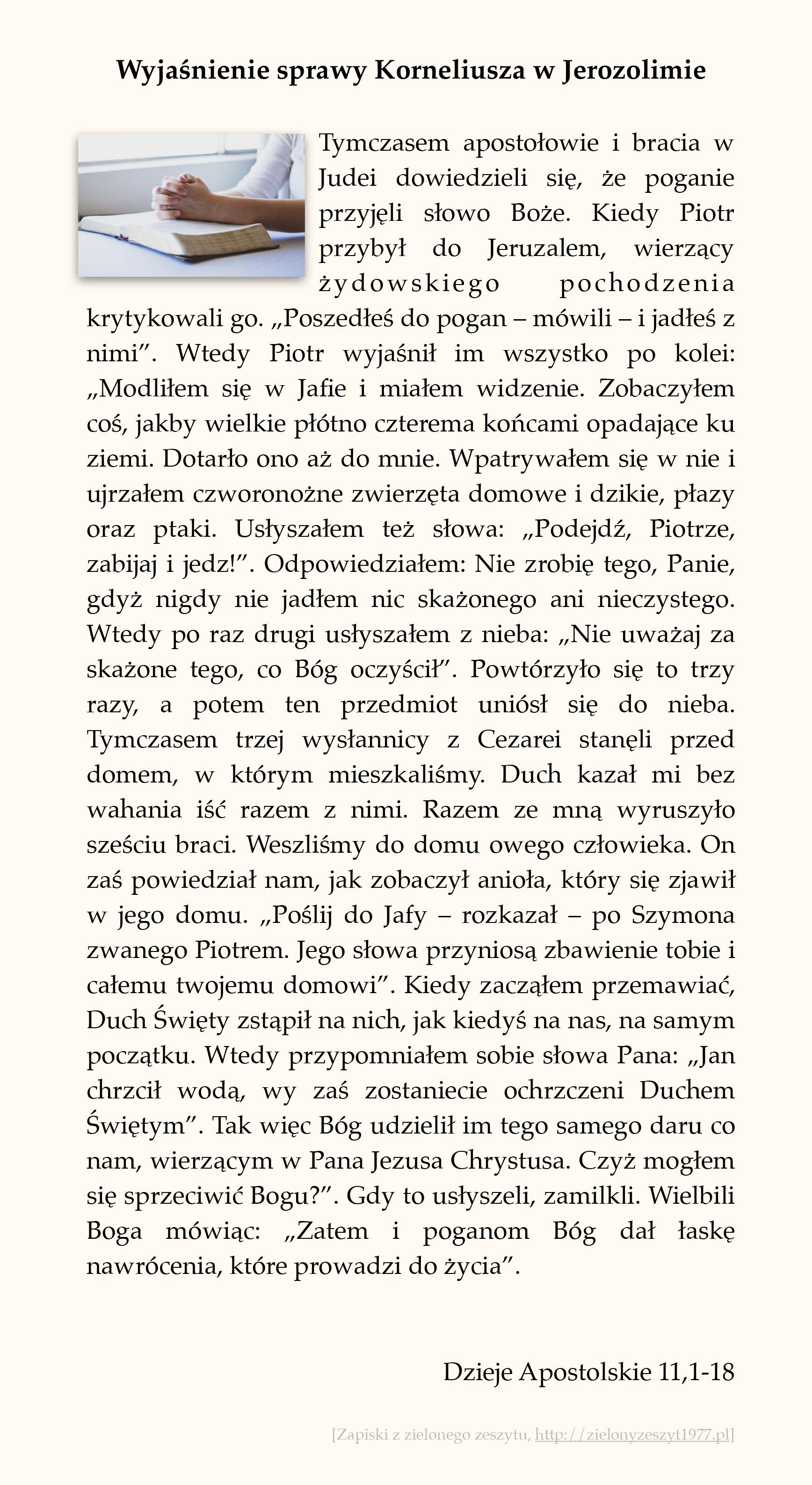 Wyjaśnienie sprawy Korneliusza w Jerozolimie; Dzieje Apostolskie (#51)