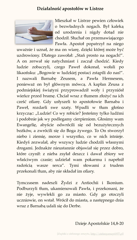 Działalność apostołów w Listrze; Dzieje Apostolskie (#63)