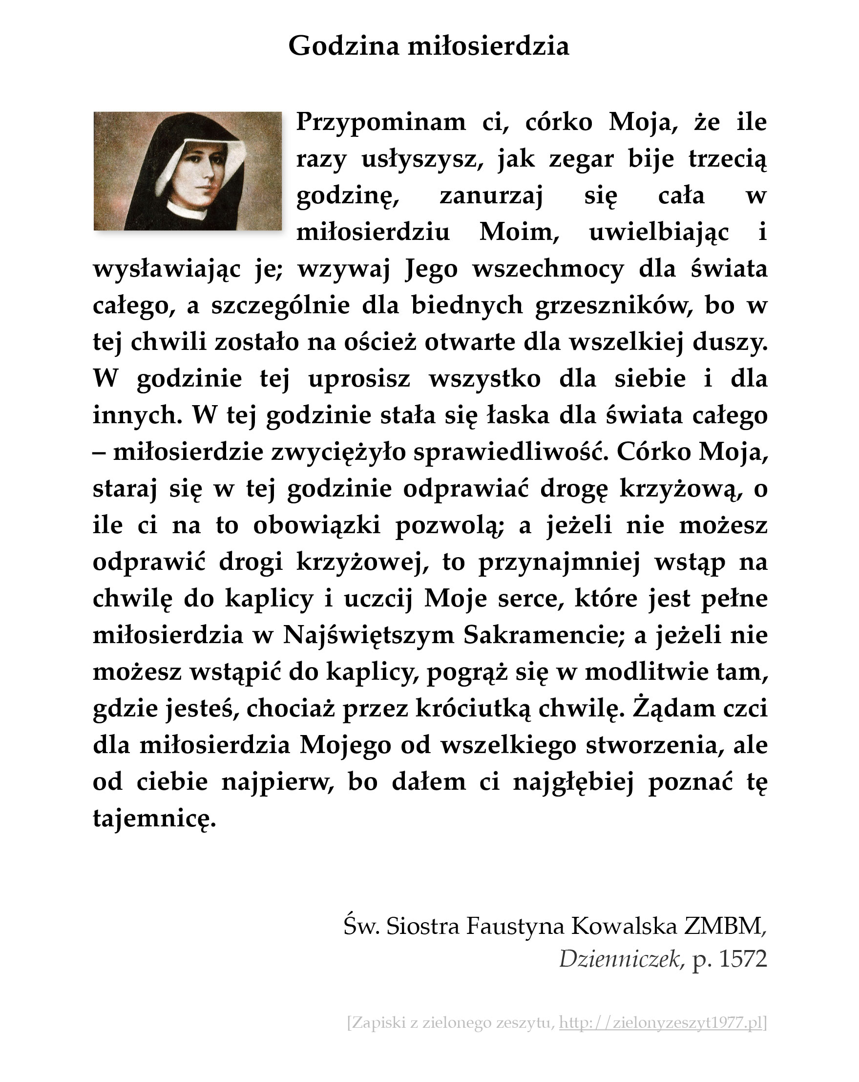 Godzina miłosierdzia; św. Faustyna Kowalska