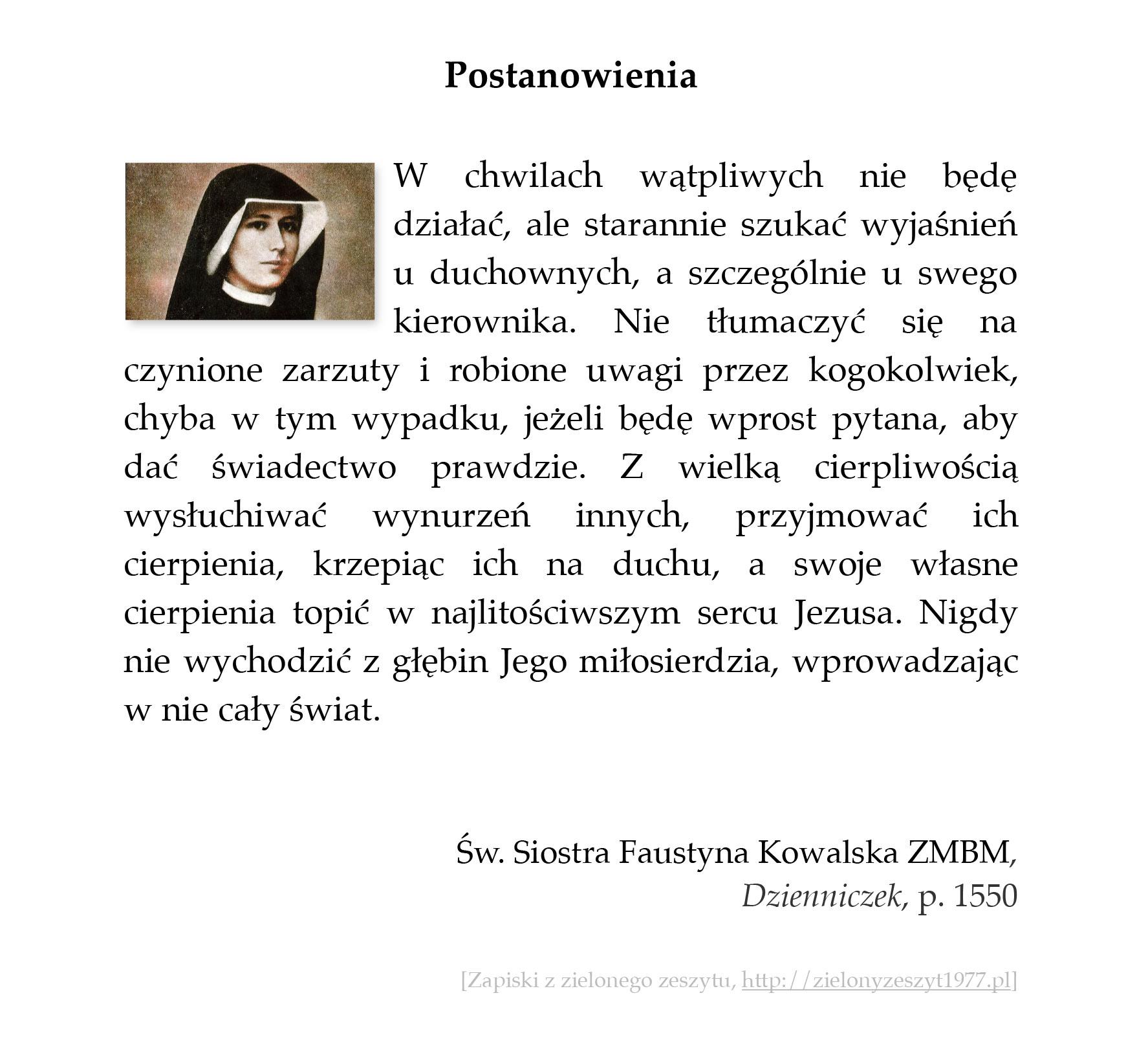 Postanowienia; św. Faustyna Kowalska