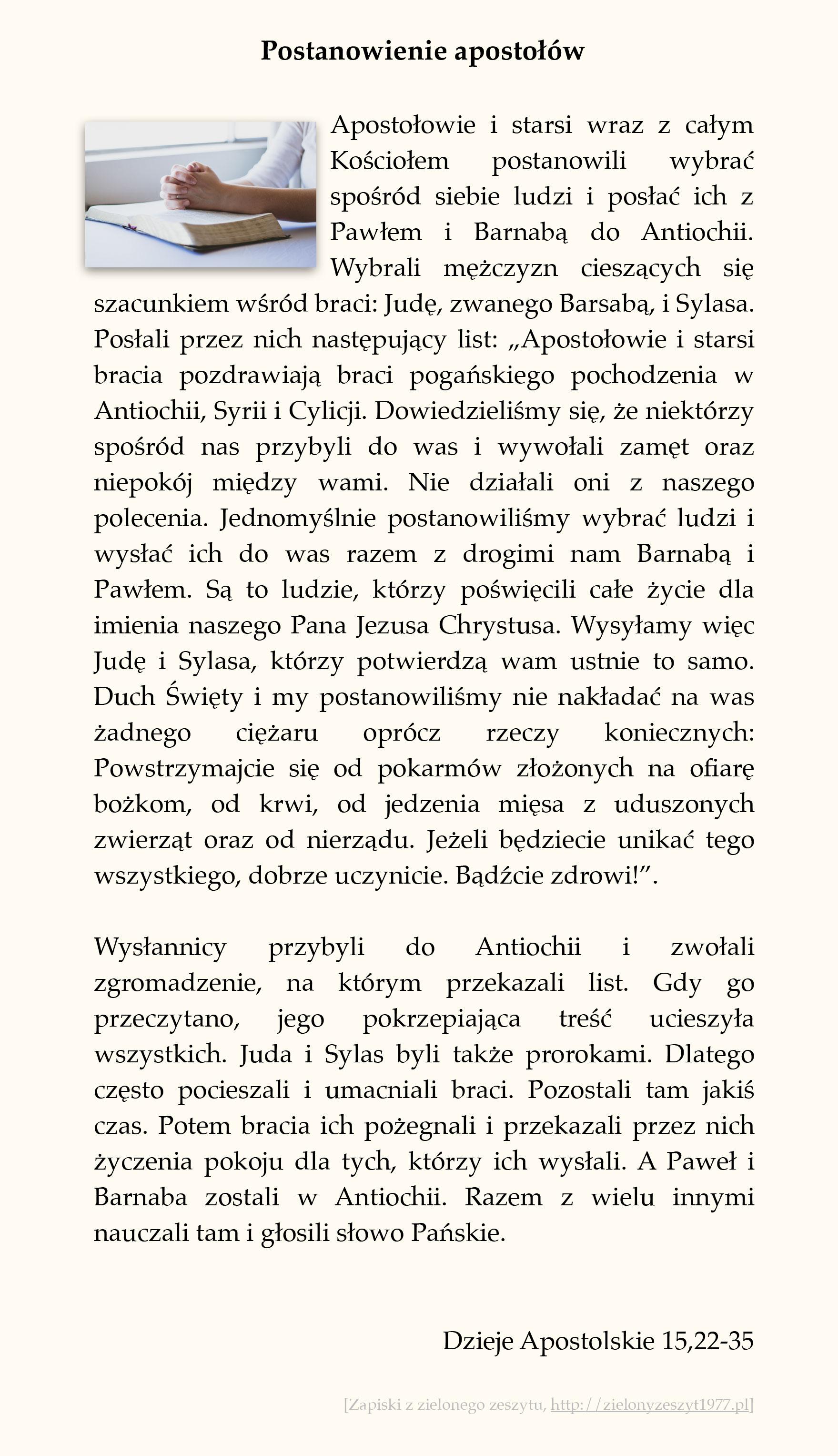 Postanowienie apostołów; Dzieje Apostolskie (#68)