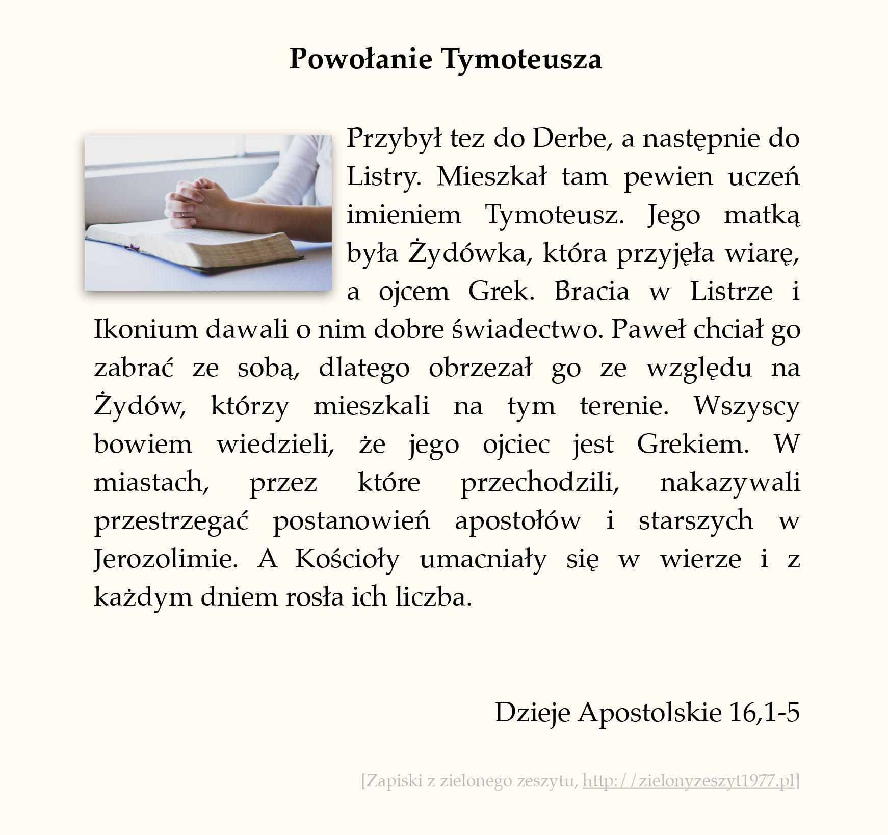 Powołanie Tymoteusza; Dzieje Apostolskie (#70)