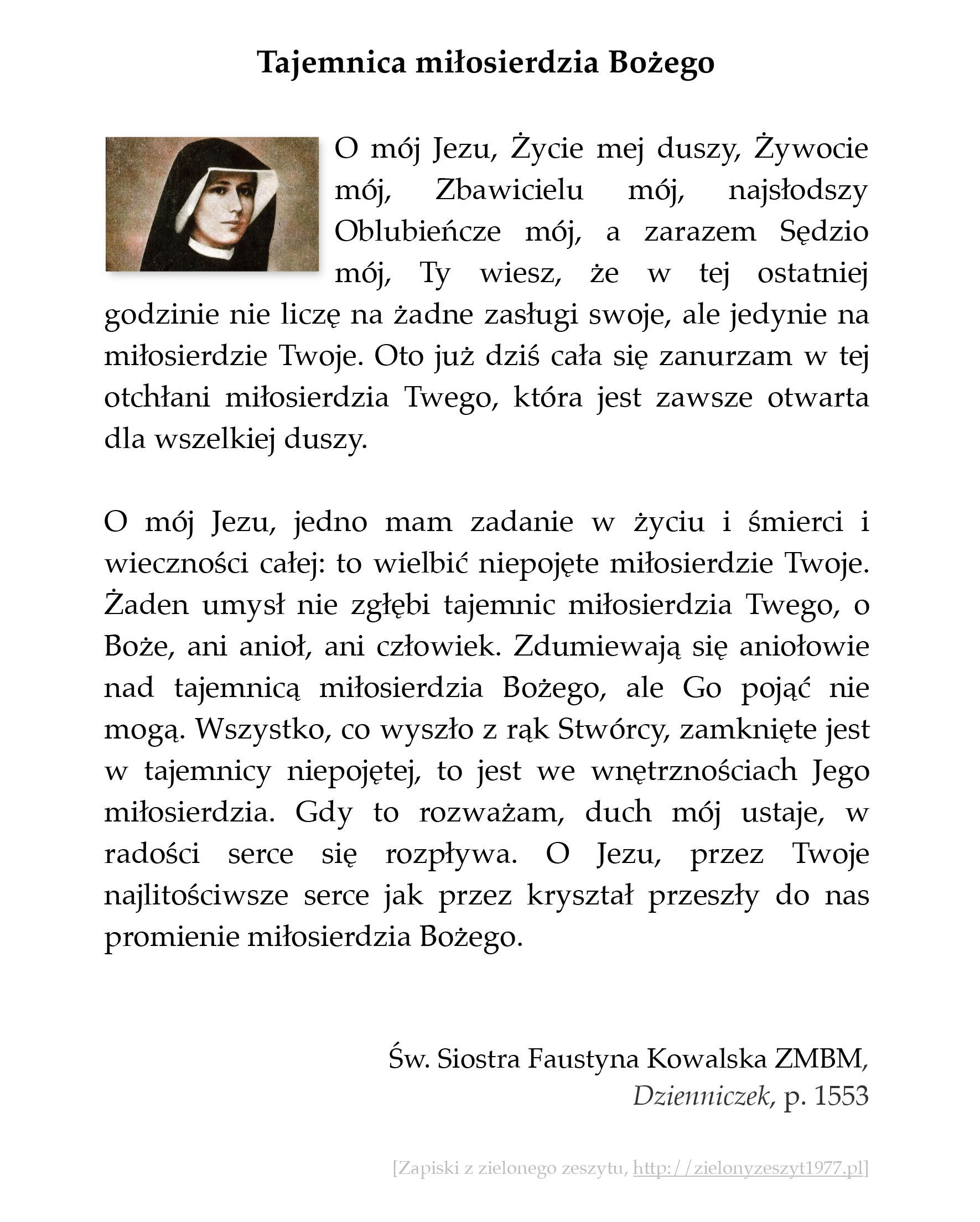 Tajemnica miłosierdzia Bożego; św. Faustyna Kowalska