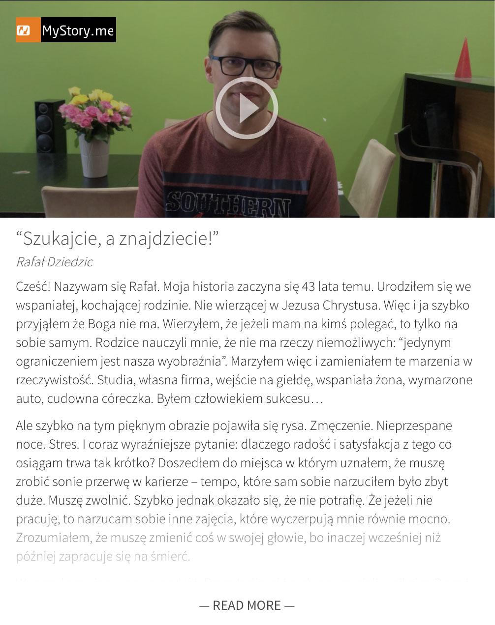 MyStory.me - Rafał Dziedzic