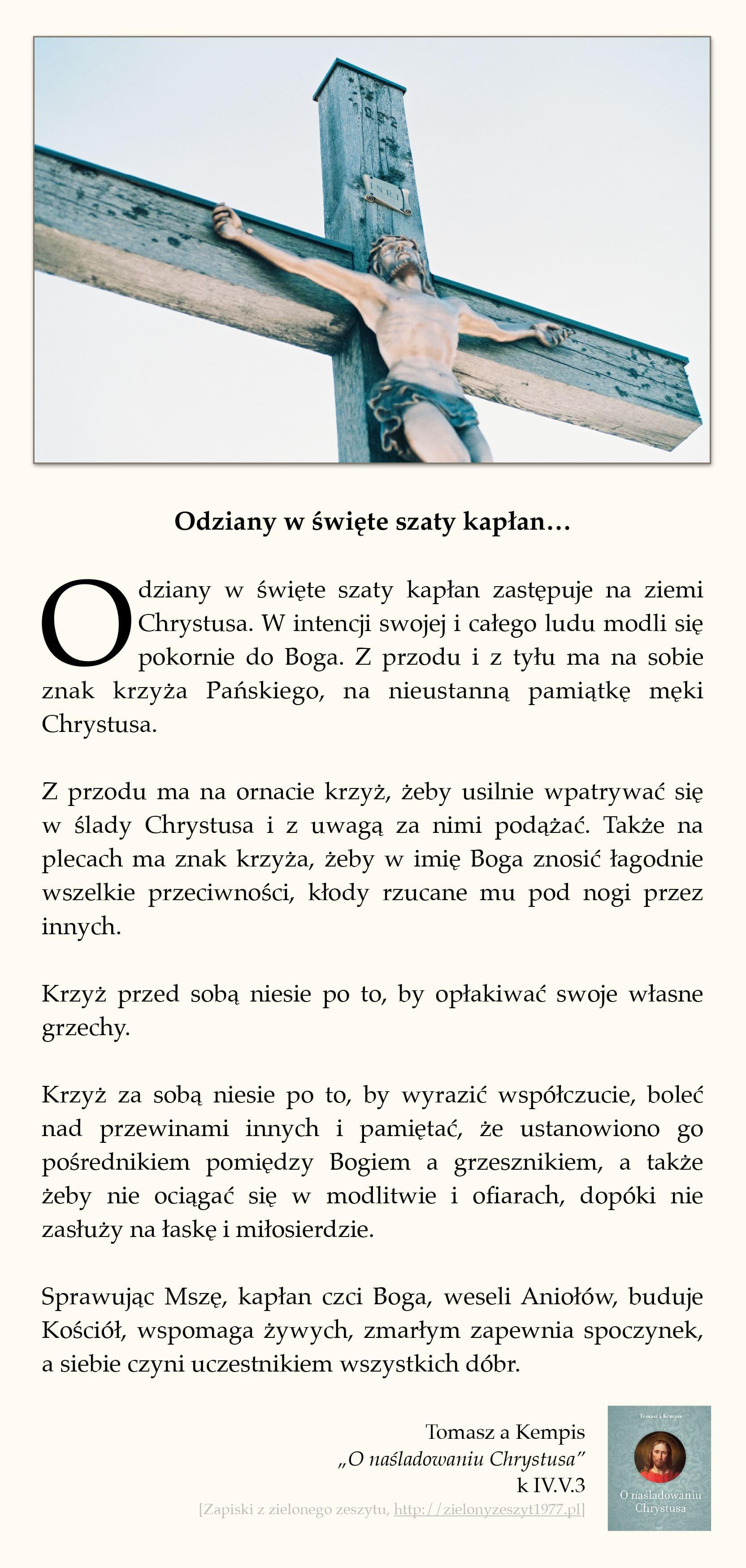 """Tomasz a Kempis, """"O naśladowaniu Chrystusa"""", k IV.V.3 (Odziany w święte szaty kapłan…)"""