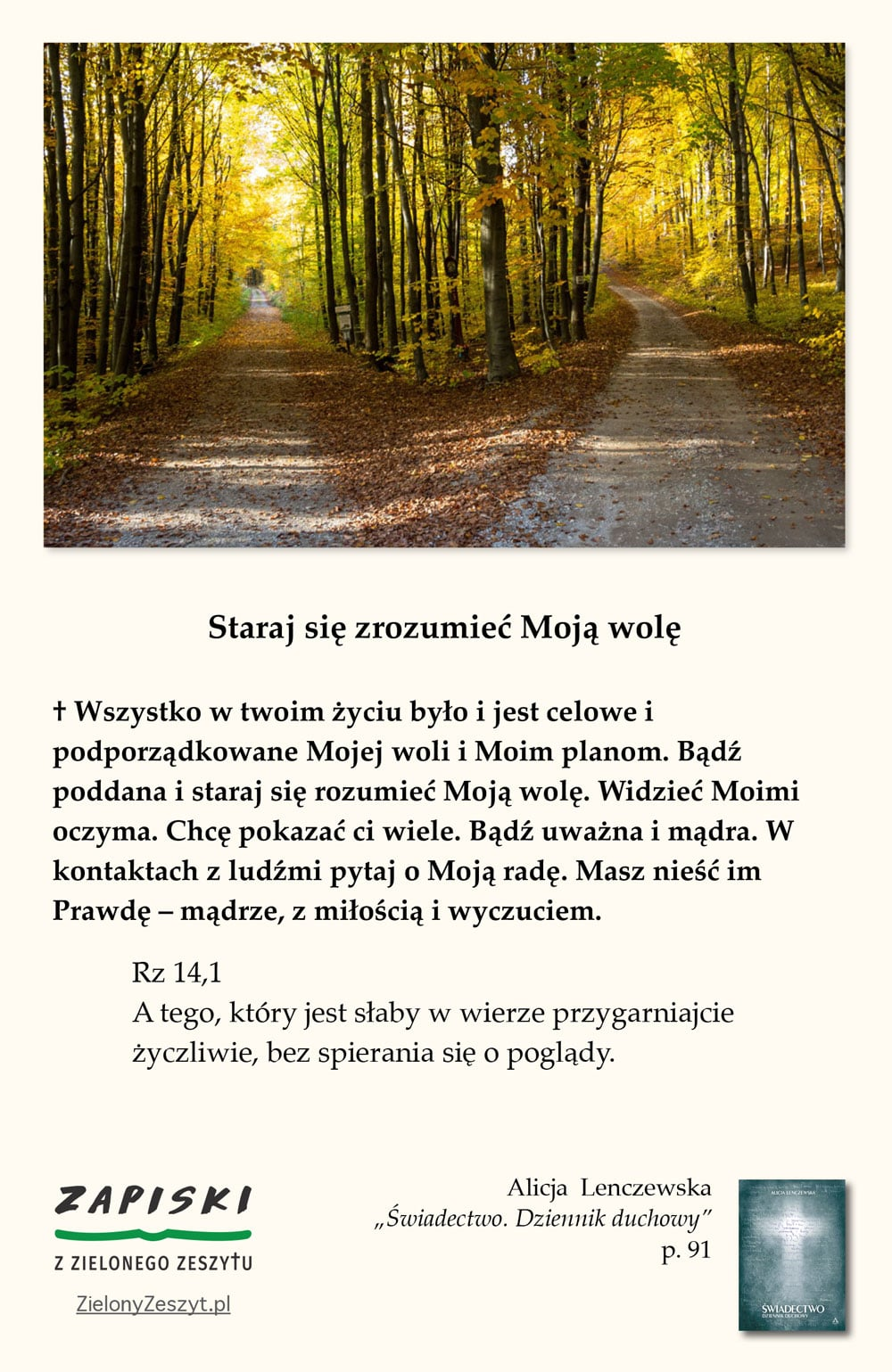"""Alicja Lenczewska, """"Świadectwo. Dziennik duchowy"""", p. 91 (Staraj się zrozumieć Moją wolę)"""